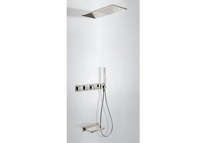 Tres Cuadro inbouw badthermostaat combinatie met handdouche en waterval baduitloop staal 20725305AC