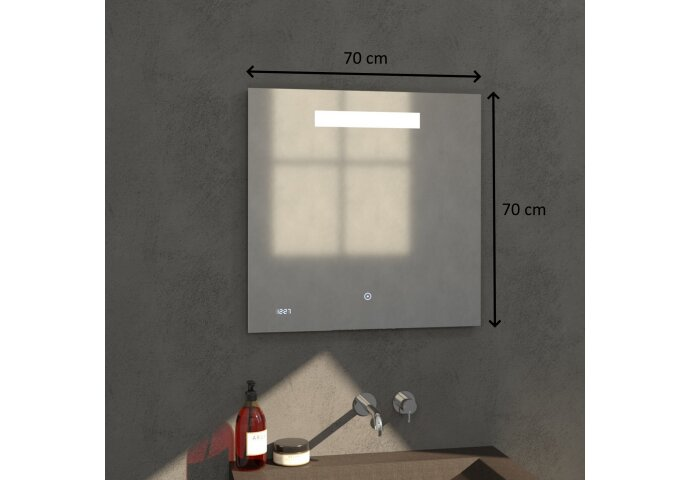 Badkamerspiegel met LED Verlichting Sanitop Clock 70x70 cm met Digitale Klok en Sensor
