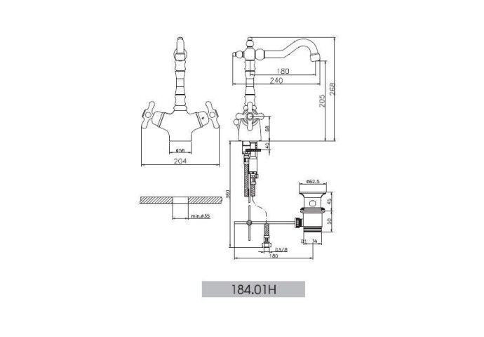 Huber Croisette Thermostatische Wastafelkraan RVS 18401HNS