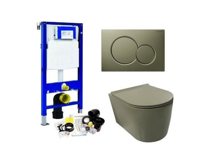 Geberit UP320 Toiletset Wandcloset Salenzi Civita Mat Legergroen met Sigma 01 Drukplaat