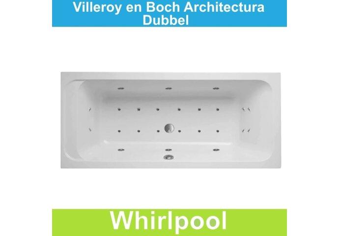 Ligbad Villeroy & Boch Architectura 180x80 cm Balboa Whirlpool systeem Dubbel | Tegeldepot.nl