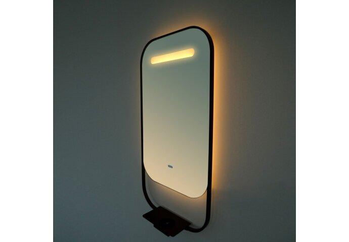 Led Spiegel Vanita Pollux Deluxe met Spiegelverwarming en Telefoonoplader 80x40 cm Mat Zwart