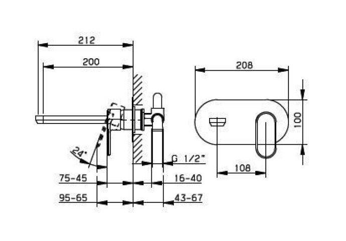 Huber Levity inbouw wastafelmengkraan Chroom LY.002510.21
