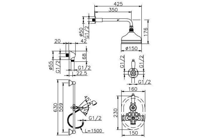 Huber Croisette Inbouw Thermostatische Doucheset Goud 912CS01HAG