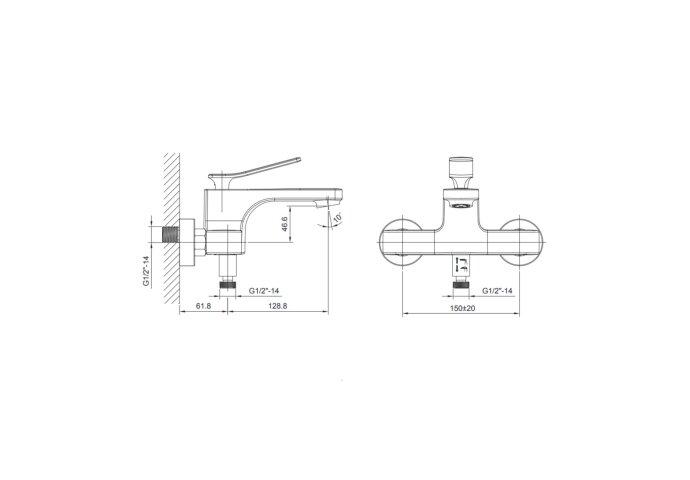 Badkraan Opbouw Sapho Jumper Mengkraan 1-hendel 12.8 cm Chroom