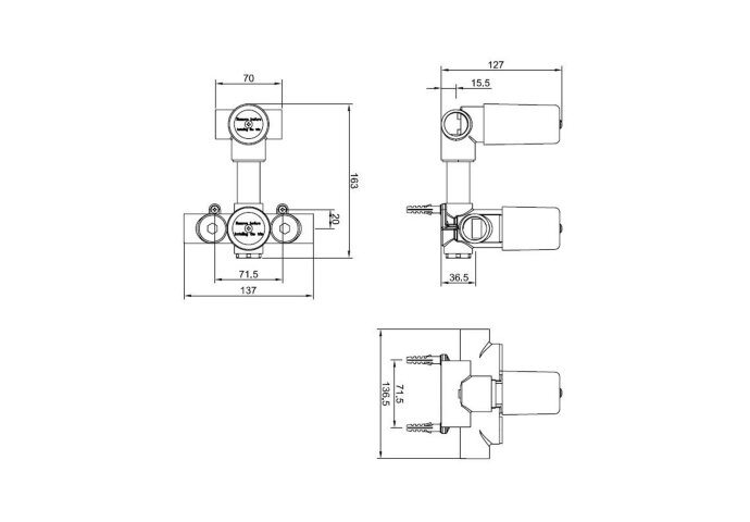 Inbouwdeel 2-weg douchethermostaat excl afbouwdeel Boss & Wessing Charisma