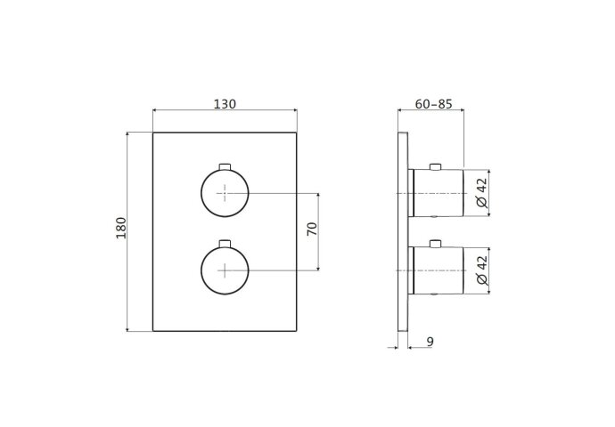 Inbouw Douchekraan 2-Weg Herzbach Design IX Thermostatisch PVD-Coating Zwart