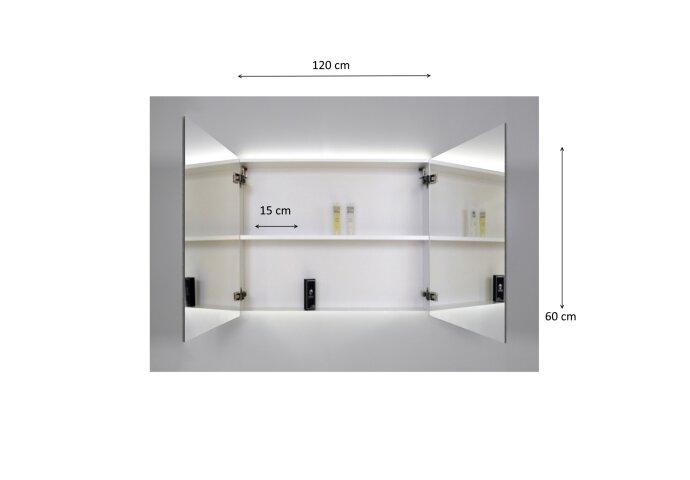 Spiegelkast Sanicare Qlassics Ambiance 120 cm 2 Deuren Alu-Look