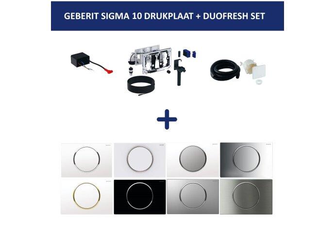Bedieningsplaat Geberit Sigma 10 + DuoFresh Geurzuiveringssysteem Wit Met Verchroomde Toetsen