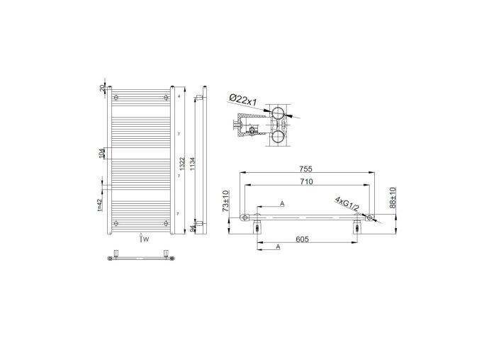 Handdoekradiator Sapho Direct Recht 75x132.2 cm 864W Wit