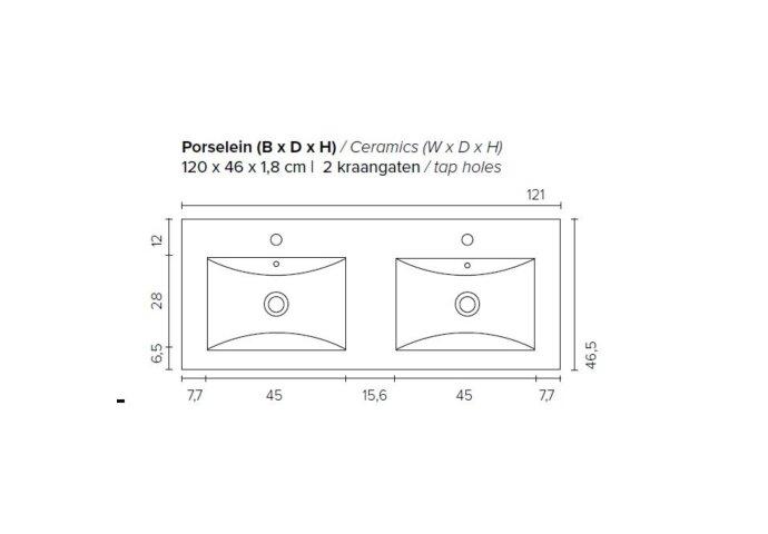 Badkamermeubel Boss & Wessing Pepper Wastafel Porselein Twee Kraangaten 120x55x46 cm Antraciet
