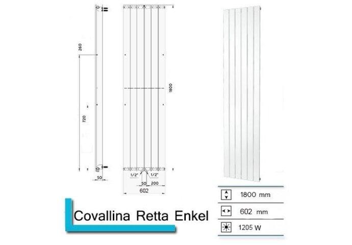 Handdoekradiator Covallina Retta enkel 1800x602mm Zilver Metallic