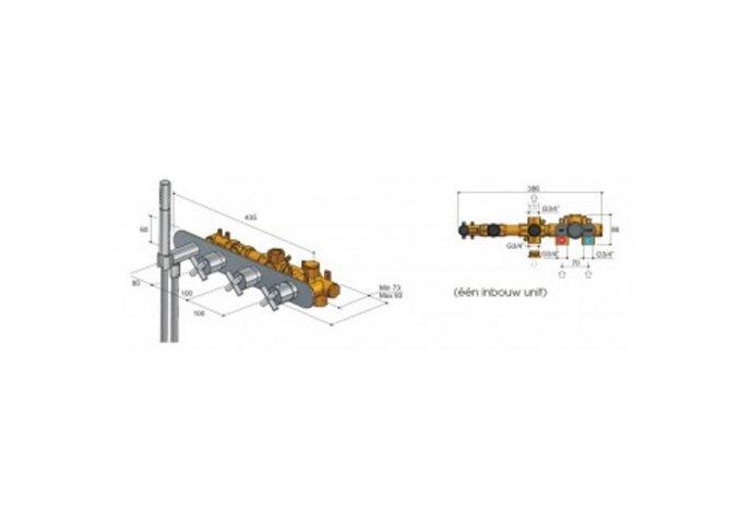 Thermostaat Inbouw 2 stopkraan Hotbath Chap Horizontaal zonder uitloop Chroom