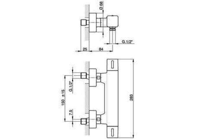 Cisal Cubic Thermostatische Douchekraan chroom CUT0101021