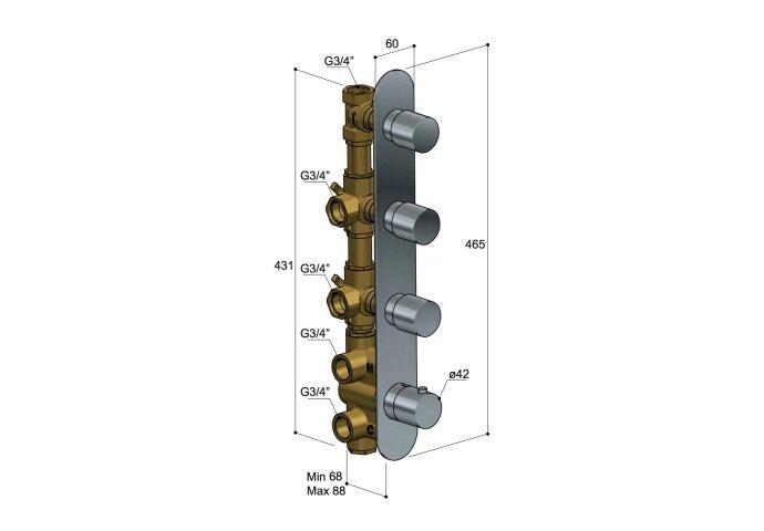 Douchethermostaat Hotbath Buddy Inbouw 3 Stopkranen Verticaal Chroom