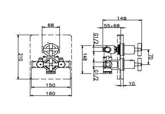 Huber Suite Inbouw thermostaat met 2-omsteller Chroom 369Q.01H.CR