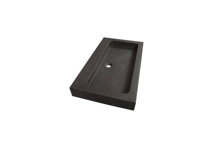 Wastafelblad Natuursteen Black Spirit 80 0 kraangaten