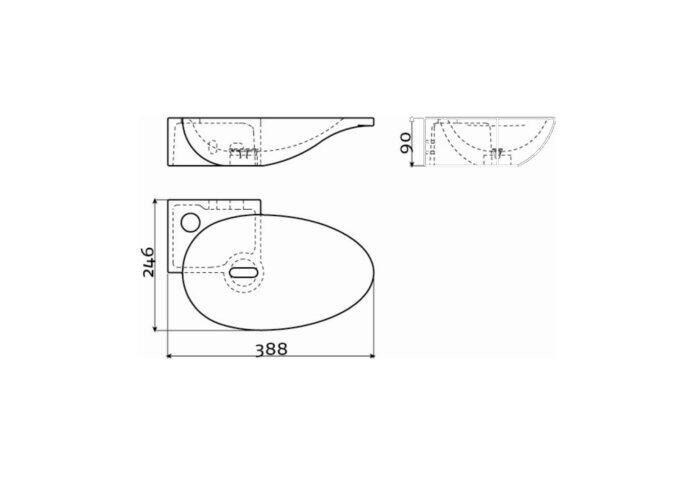 Fonteinkom Clou First Links met Kranenbank en Plug 38.8x9x24.6cm Keramiek Wit (1 kraangat)