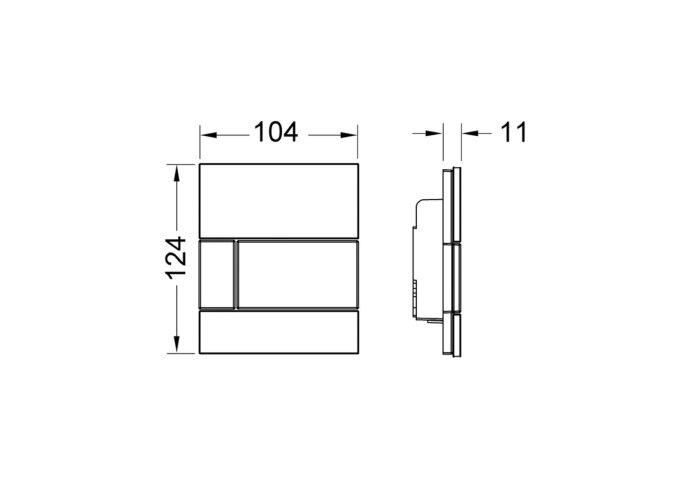 Urinoir Bedieningsplaat TECE Loop Glas Mintgroen 10,4x12,4 cm (met glanzend chromen toets)