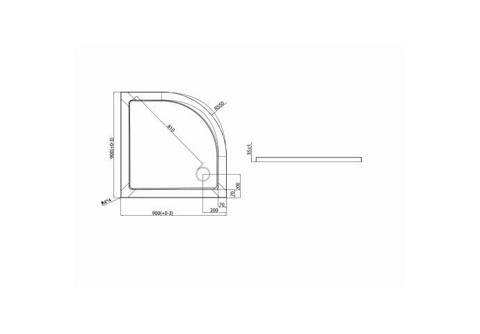 Douchebak VM Go Helion 90x3.5cm Composiet Kwartrond Wit Verstevigd