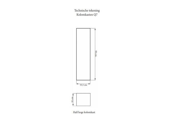 Kolomkast Sanicare Q4/Q15 1 Soft-Closing Deur 90x33,5x32 cm Hoogglans Wit
