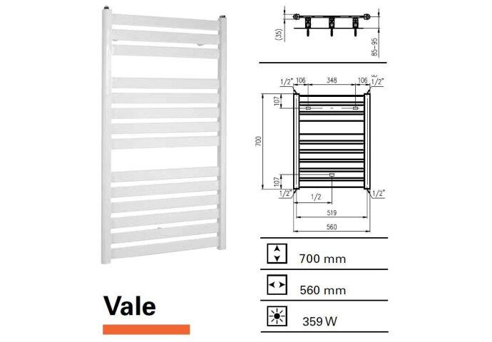 Handdoekradiator Vale 700 x 560 mm Wit structuur