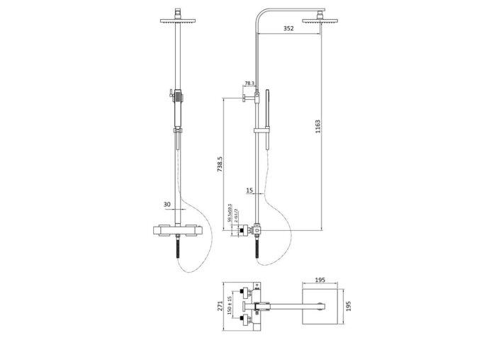 Opbouw Regendouche Set Boss & Wessing Lusso Thermostatisch Hoofddouche 20 cm Vierkant Mat Zwart