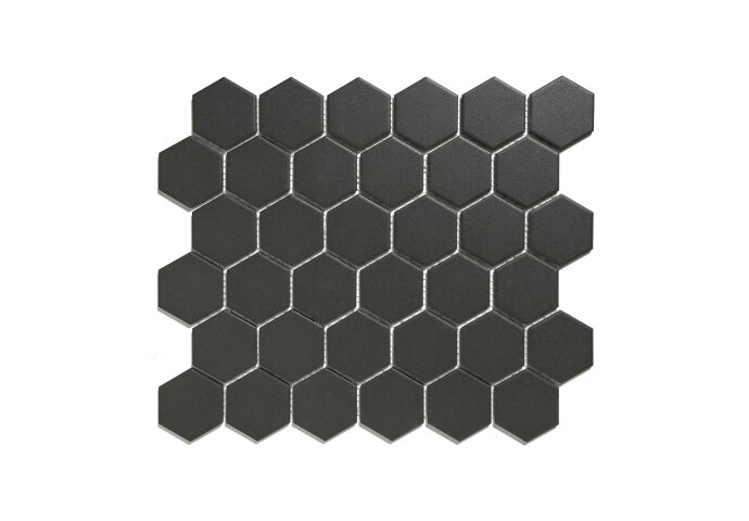 Mozaïek London 28.1x32.5 cm Onverglaasd Porselein Hexagon, Mat Antislip En Zwart (Prijs Per 0.91 m2)