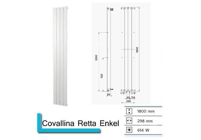 Handdoekradiator Covallina Retta Enkel 1800 x 298 mm Antraciet Metallic