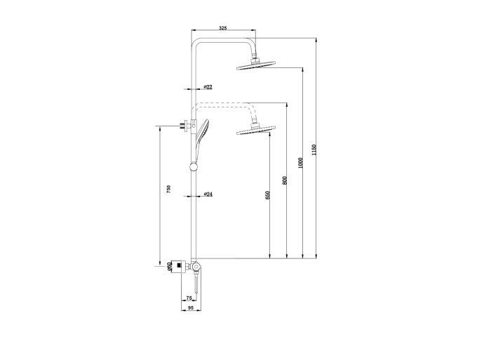Opbouw Regendouche Set Boss & Wessing Exclusive Pro Thermostatisch Staaf Handdouche RVS 30 cm