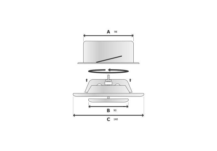Ventiel Rooster BWS Ventilatie Aansluitmaat Ø 100mm Afvoer En Toevoer Geborsteld RVS