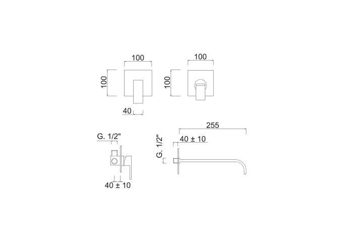 Inbouw Wastafelmengkraan Sanimex Giulini Eenhendel 25.5cm Inclusief Inbouwdelen Mat Wit