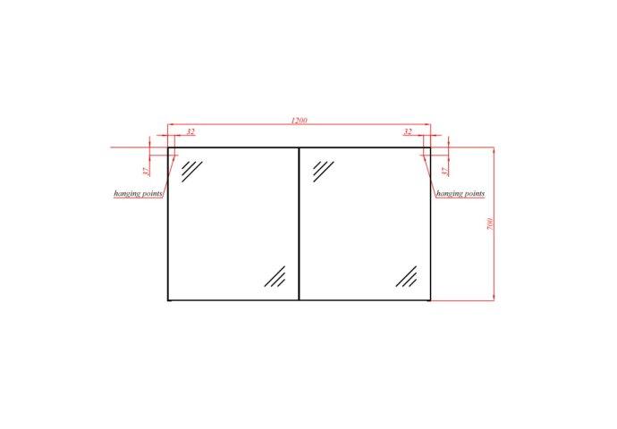 Spiegelkast Boss & Wessing 120 cm (2 deuren)