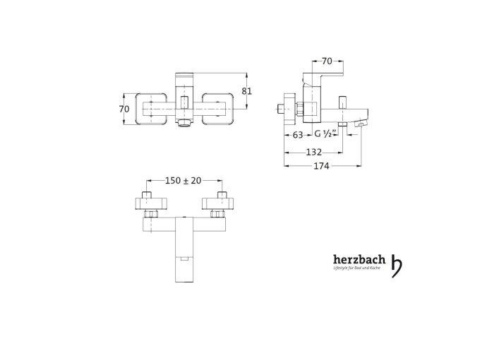 Opbouw Badkraan Herzbach Neo Castell met Doucheslang Aansluiting Chroom