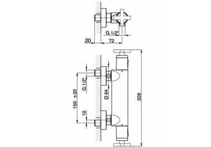 Cisal Barcelona Quad Opbouw douche thermostaat rvs BQT010102A