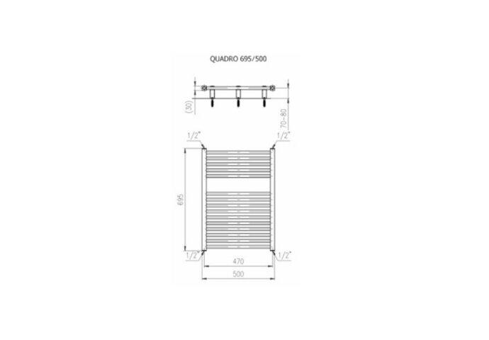 Designradiator Plieger Quadro 307 Watt Zijaansluiting 69,5x50 cm Wit