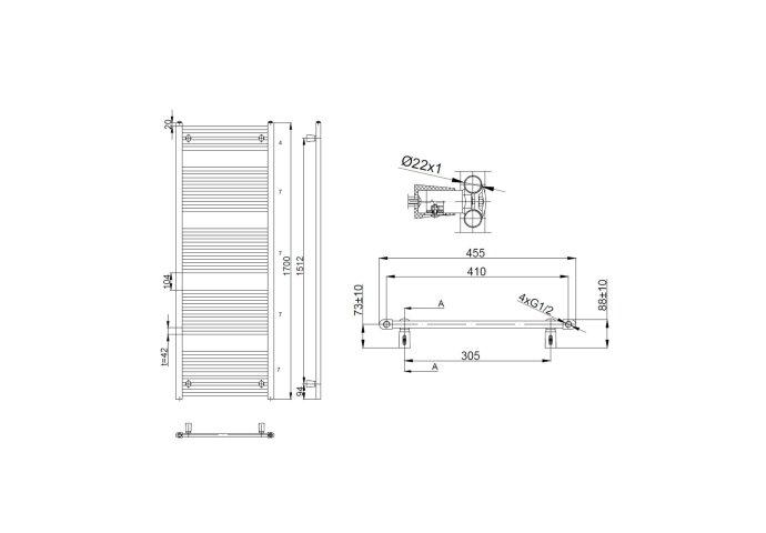 Handdoekradiator Sapho Direct Recht 45x170 cm 722W Wit