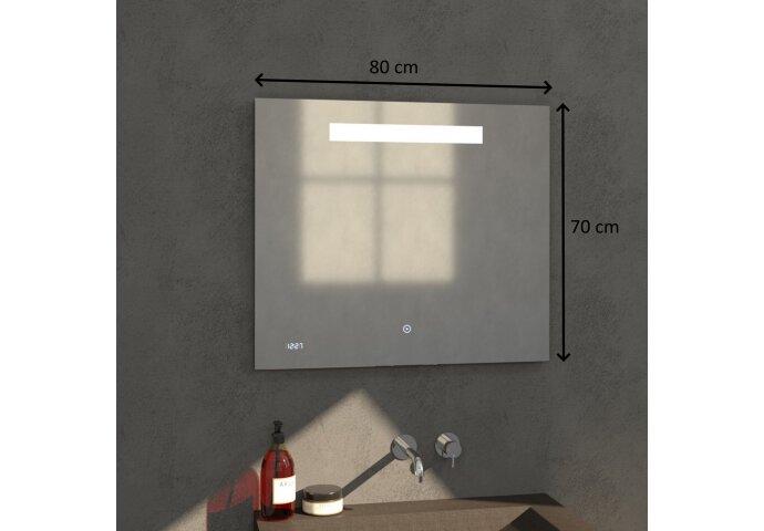 Badkamerspiegel met LED Verlichting Sanitop Clock 80x70 cm met Digitale Klok en Sensor