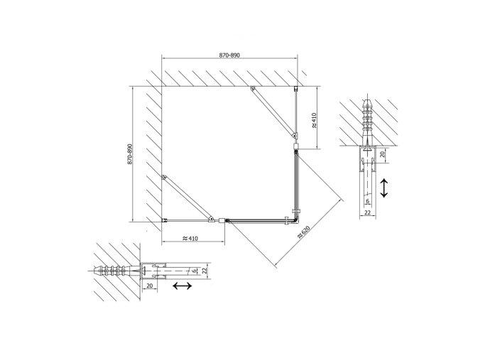 Douchecabine Sapho Zoom Line Black Draaideur 90x90 cm 6 mm Gecoat Glas Mat Zwart