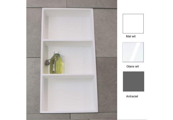 Inbouwnis Luca 59.5x29.5x8 cm met 3 Schappen (in 3 kleuren verkrijgbaar)
