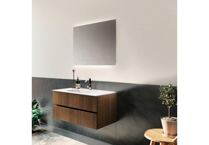 Badkamerspiegel Xenz Garda 80x70cm met Ledverlichting Boven- en Onderzijde en Spiegelverwarming