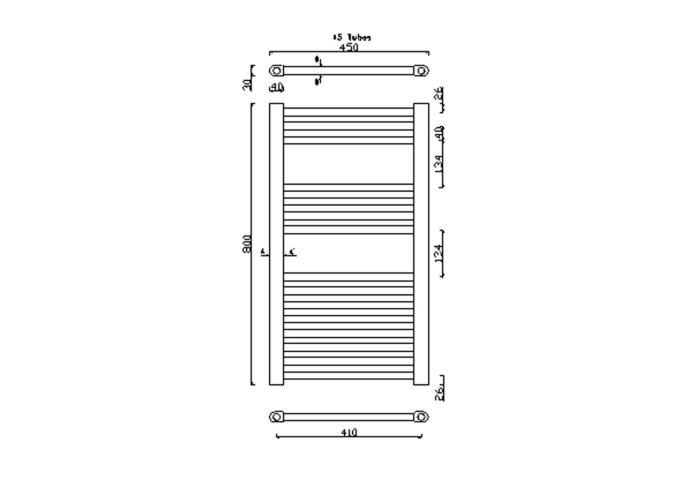 Handdoekradiator Sapho Alya Recht 45x80 cm 266W Chroom