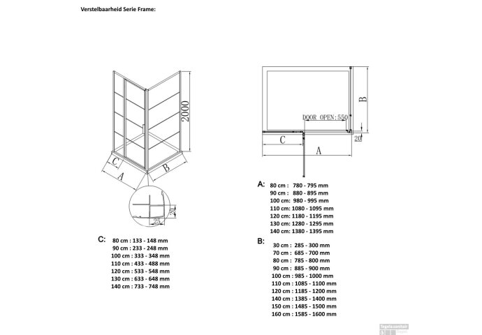 Inloopdouche BWS Black Line 130x200 cm 8mm NANO Glas Mat Zwart Raster