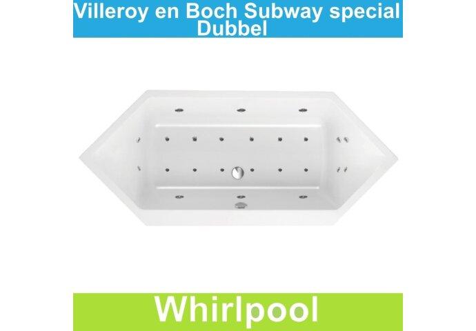 Ligbad Villeroy & Boch Subway 190x80 cm Balboa Whirlpool systeem Dubbel | Tegeldepot.nl