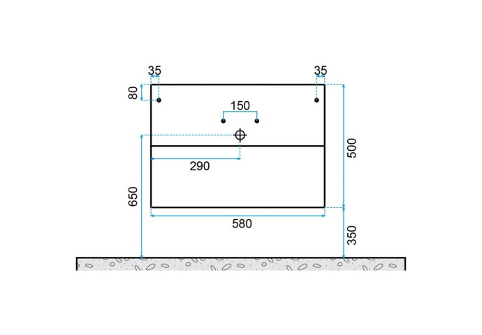 Badkamermeubelset Dekker Klea 60x50x44.5 cm Hoogglans Wit