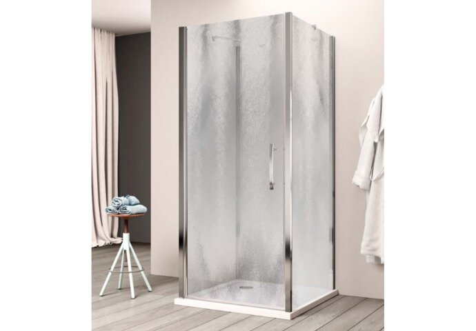 Douchecabine Lacus Giglio Fox Eéndelig 95 cm Chinchilla Glas Aluminium Profiel (2 zijwanden)