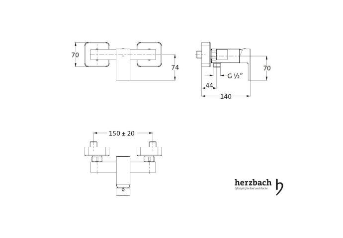Opbouw Douchekraan Herzbach Neo Castell met Doucheslang Aansluiting Chroom