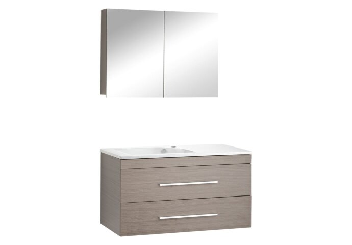 Badmeubelset Differnz Style 100x45x48cm Spiegelkast Softclose Kraangat rechts Grijs Eiken