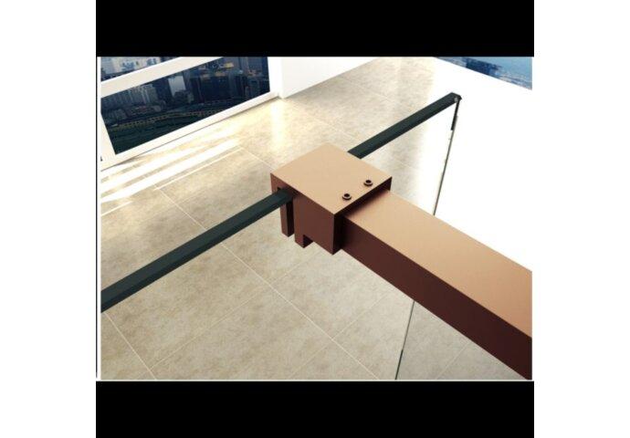 BWS Inloopdouche Pro Line Helder Glas Geborsteld Messing Koper Profiel en Stang (ALLE MATEN)