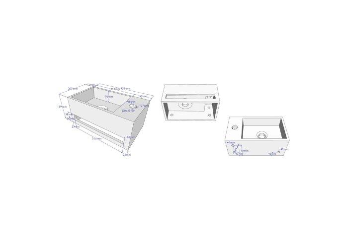 Fonteinset BWS Solid Surface met Handdoekhouder Rechts Betonlook Grijs / Koper (inclusief kraan, afvoer en sifon)
